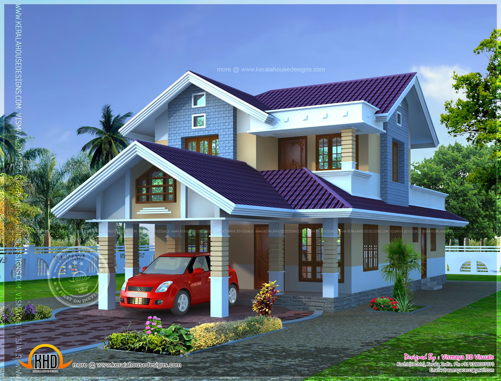 Narrow lot house plan kerala home design and floor plans for Skinny lot house plans