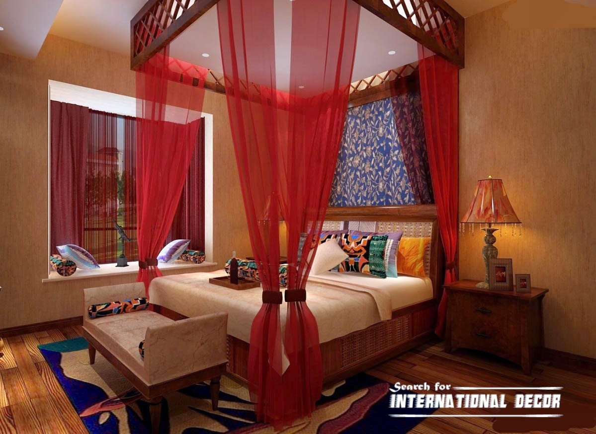 four poster bed canopy, canopy bed, romantic bedroom, red canopy curtains