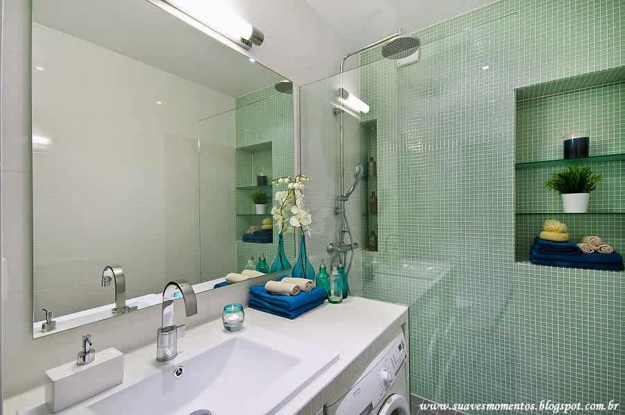 Suaves Momentos Projetinho Decoração Banheiro -> Banheiro Com Pastilha De Vidro Verde Agua