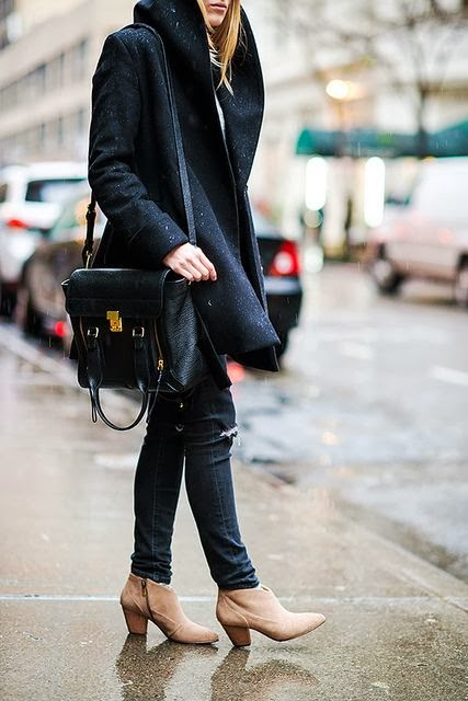 Black coat leather hand bag denim pant and shoes