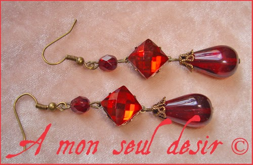 Boucles d'oreilles médiéval renaissance rouge grenat red garnet medieval earrings