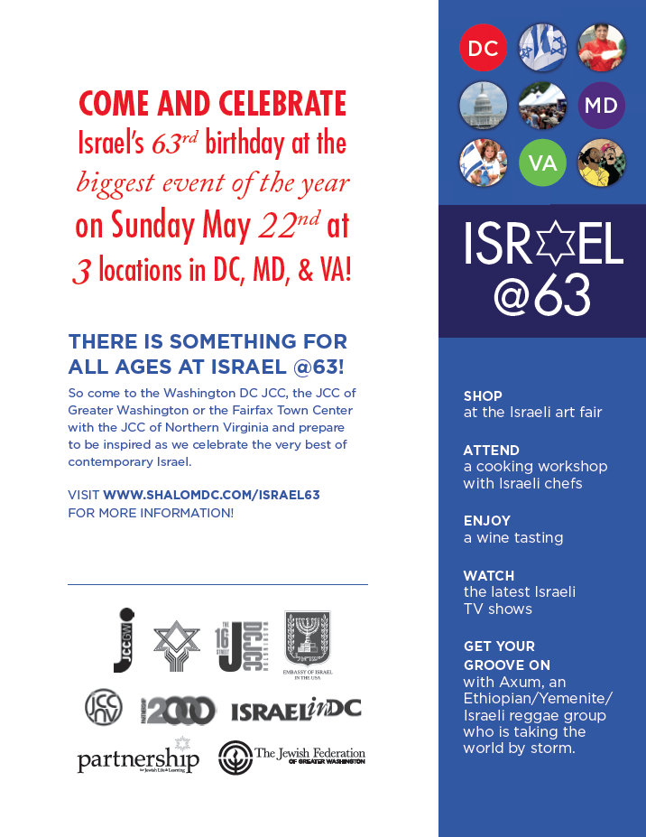Sample Flyers for Israel63 event