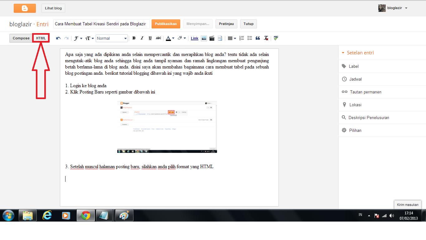 cara membuat blog sendiri cara membuat tabel kreasi
