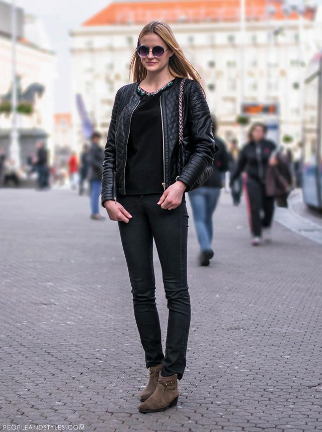 Ivana Babić, stajlinzi s bajkerskom jaknom, ulična moda