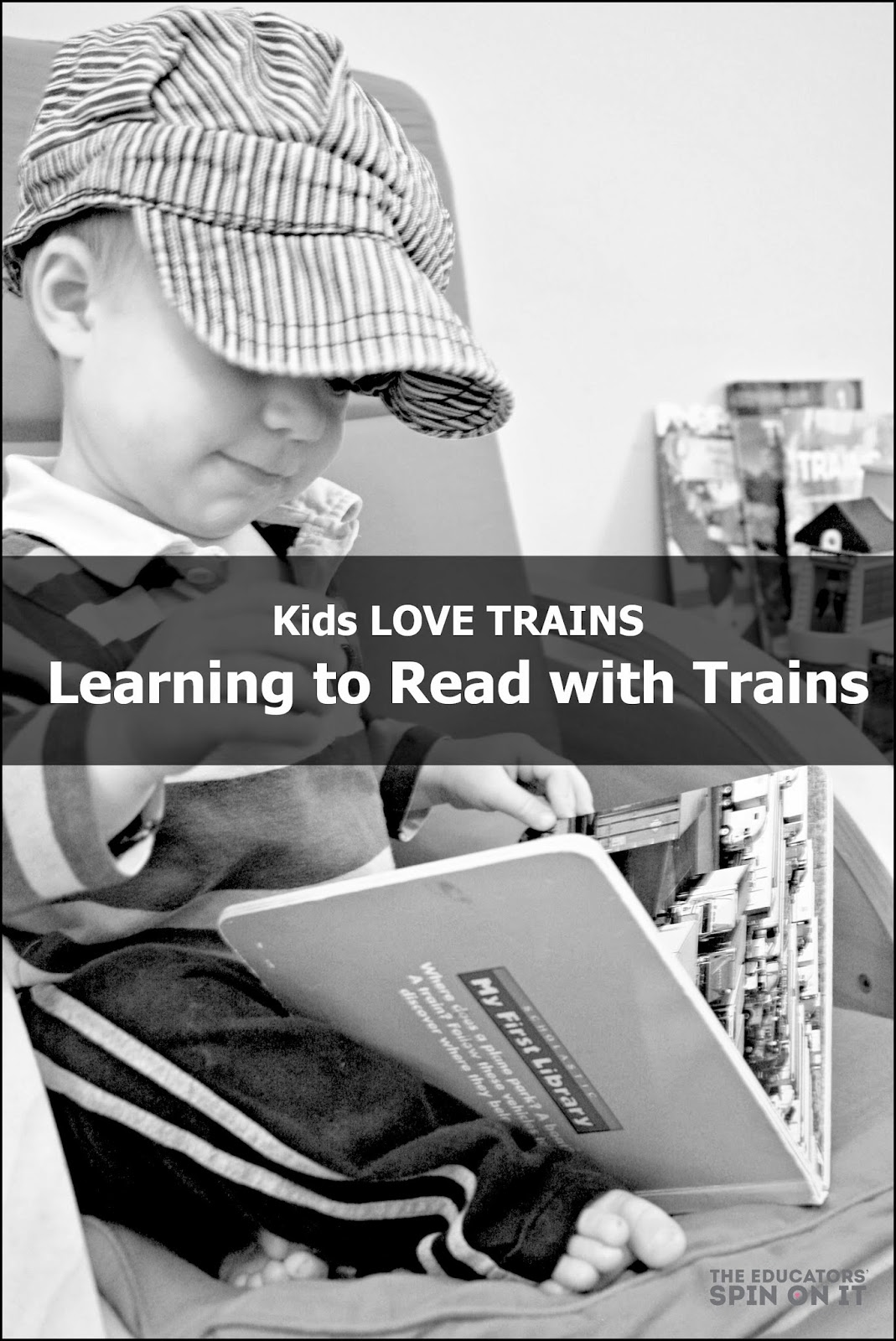 Little train enthusiasts getting excited about learning to read