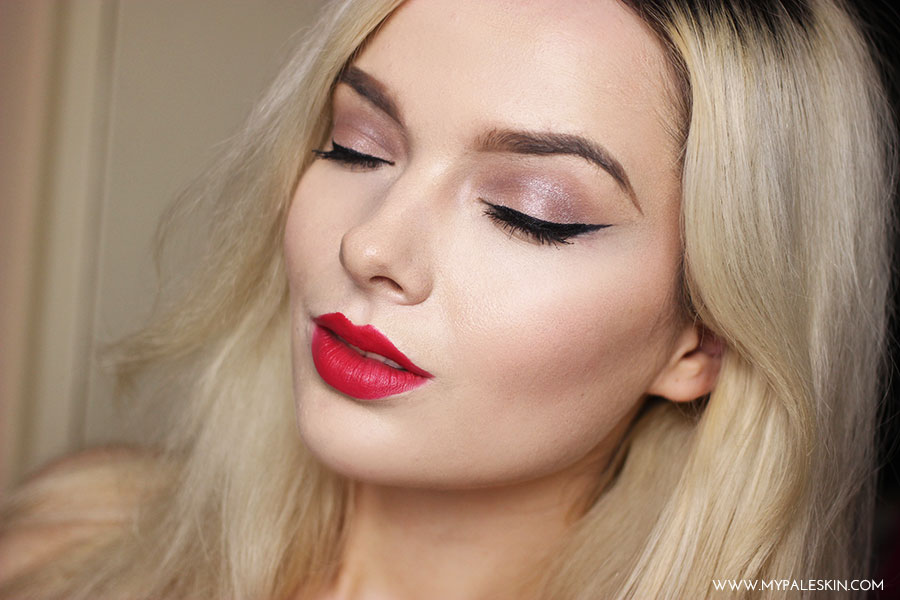 my pale skin, em ford, pale skin, red lipstick, blonde hair, black roots, beauty, swatch, bourjois 12 heures rouge edition,