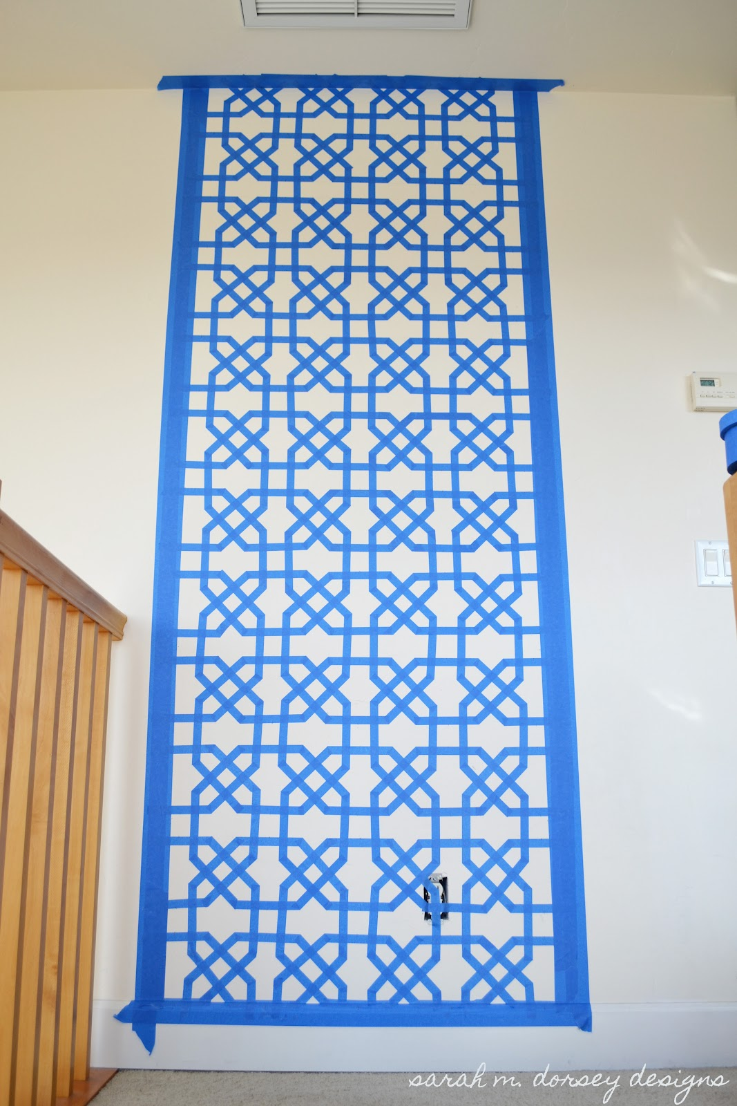Sarah m dorsey designs moorish insprired wall and frame for Wall designs using tape