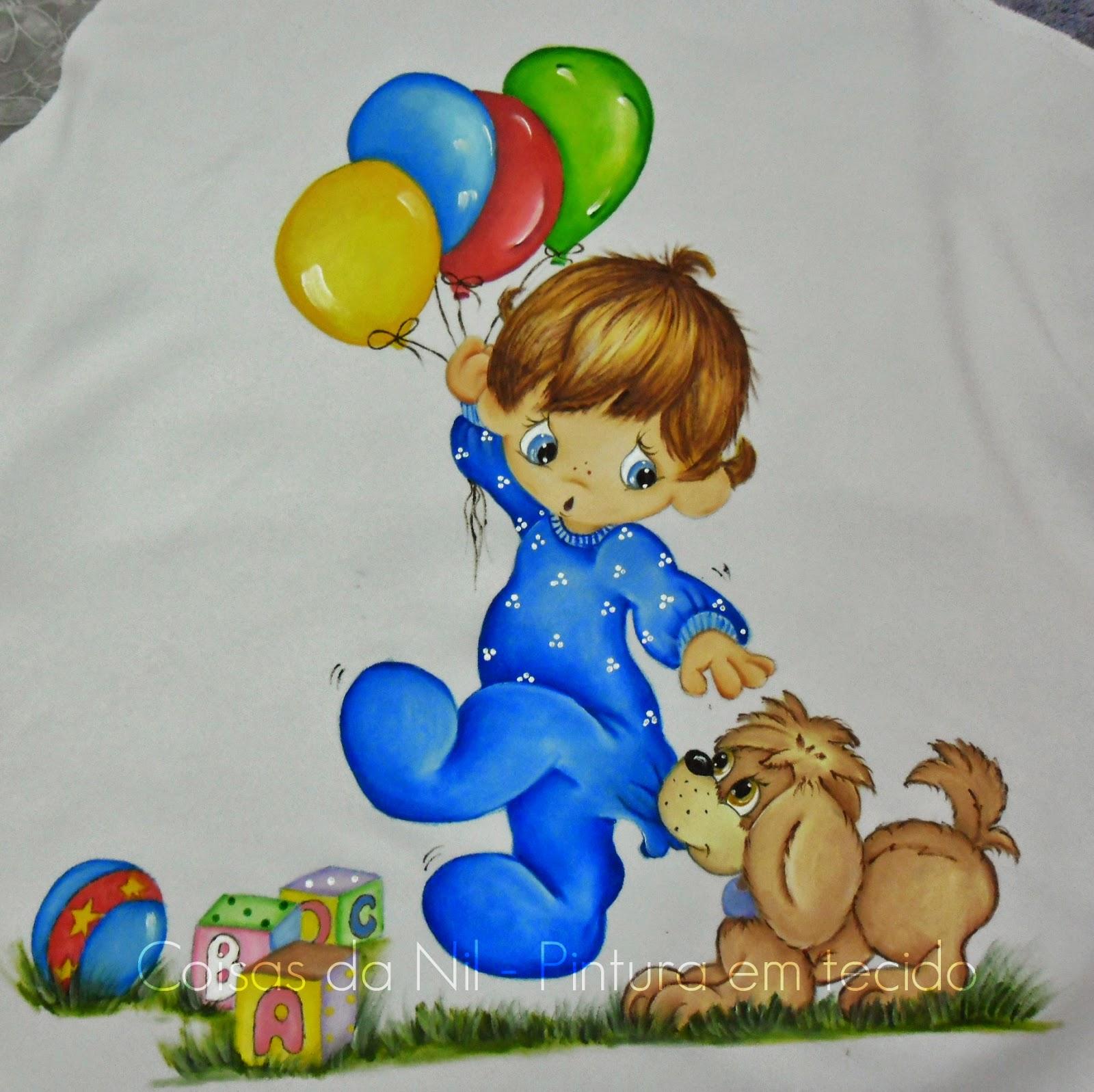 fralda pintada a mão com menino dos preciosos momentos com cachorro e baloes