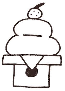 鏡餅のイラスト(お正月) 線画
