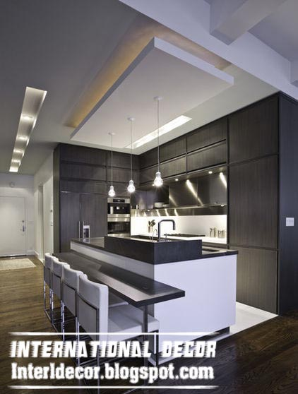 Nice Suspended Gibson Board Ceiling Design For Modern Kitchen