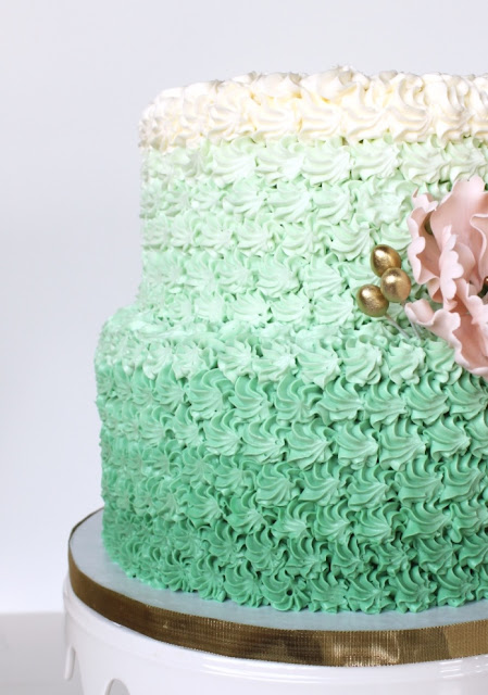 Green Ombre Style 2 Tier Cake