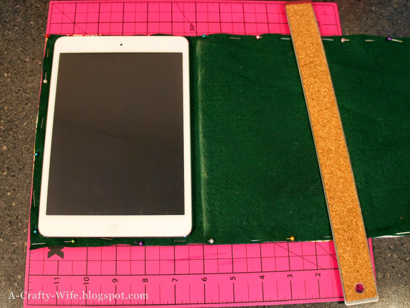 Use chalk to mark where you want your iPad case seams | A Crafty Wife