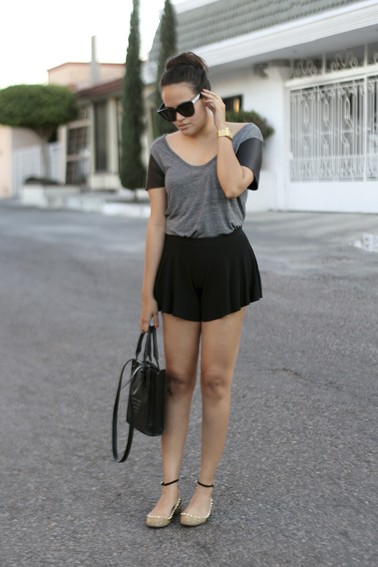 leather top, celine sunglasses, spiked shoes