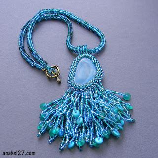 купить кулон с агатом украшения из бисера с натуральными камнями