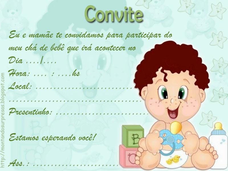 Convites para chá de bebê de menino 2
