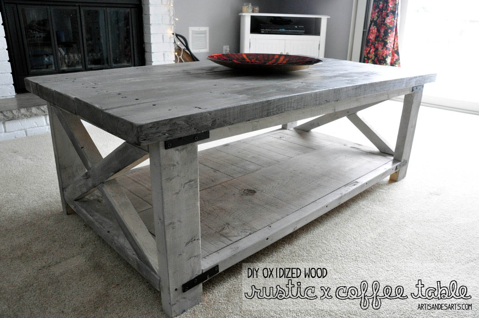 Crafted home rustic x coffee table diy for Rustic coffee table