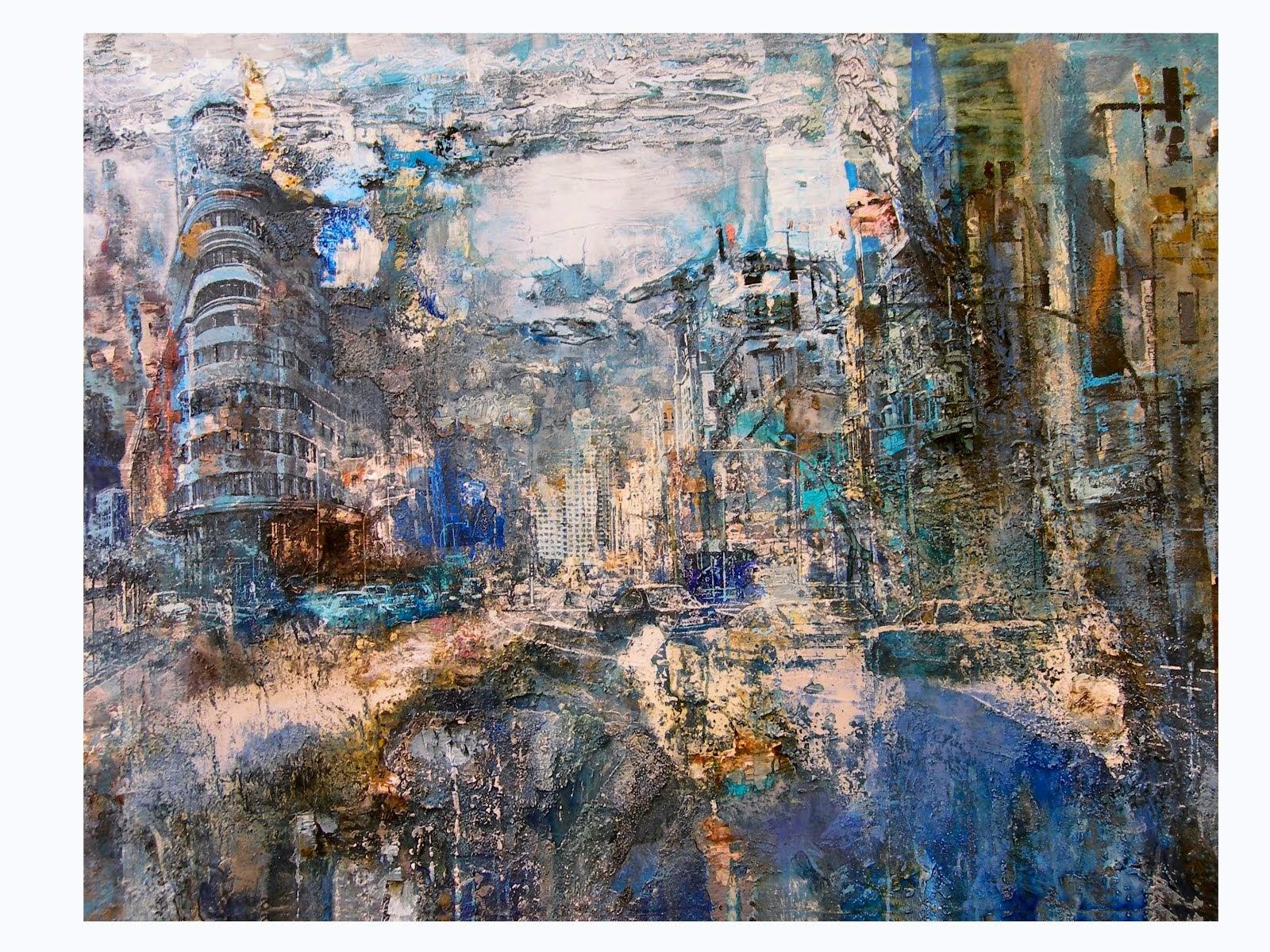 """""""Gran Vía azul"""", acrílico y anilinas/lienzo, 114 x 146 cm"""