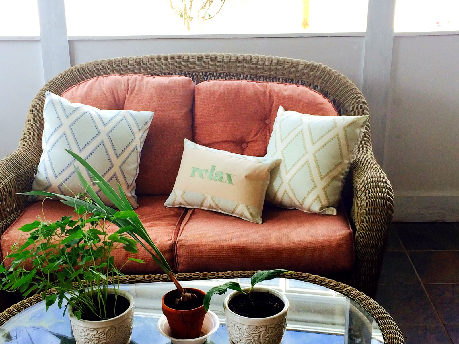 Relax Porch Message Pillow | Belinda Lee Designs | Personalized Pillows | Unify Mismatched Furniture
