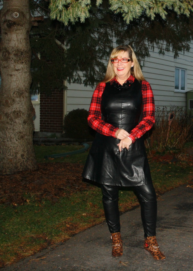 21 leather dress with buffalo plaid shirt and some leopard boots 2