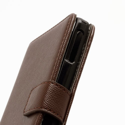 Cross Pattern MLT Wallet Leather Case Stand for Sony Xperia V LT25i VC LT25C - Brown