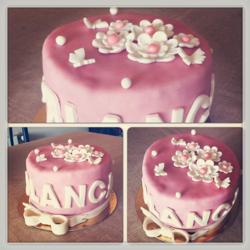 Carol Sugarcakes: Tarta fondant de cumpleaños rosa y blanca!