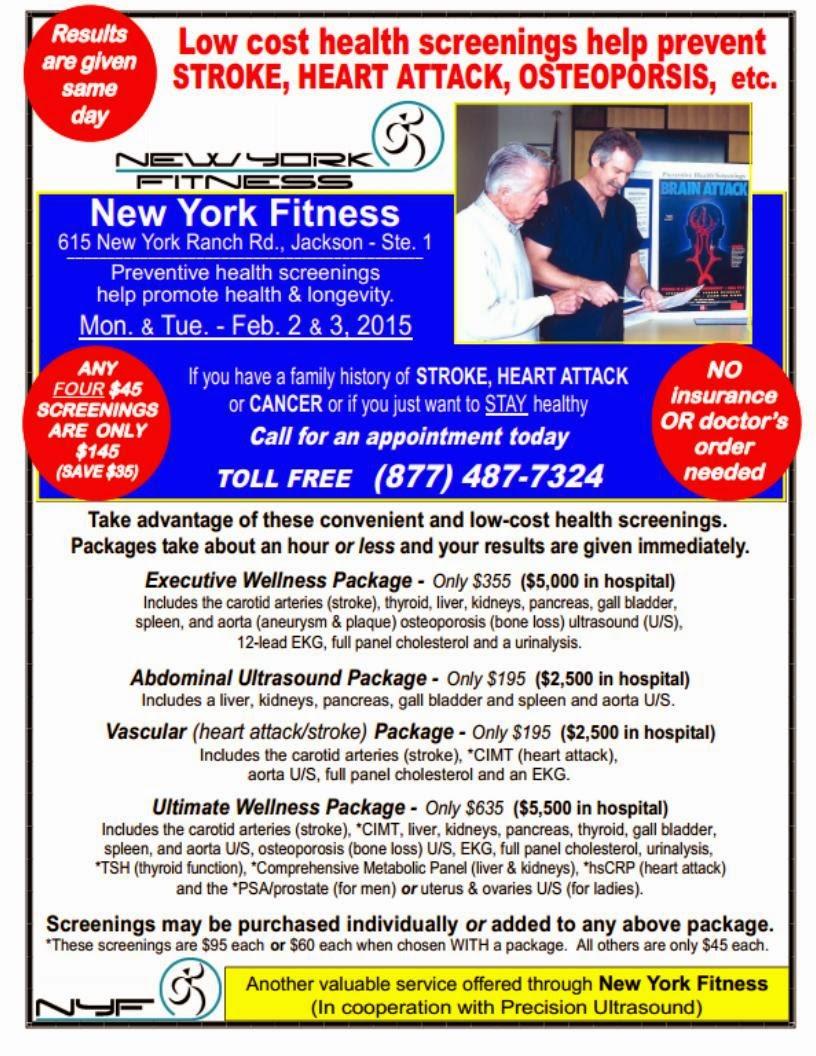 New York Fitness' Health Screening Event - Feb 2 & 3