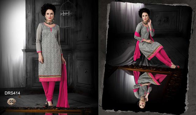 Chanderi Silk long Straight Dress Material