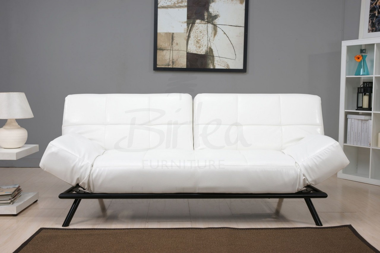White Leather Click Clack Sofa Bed