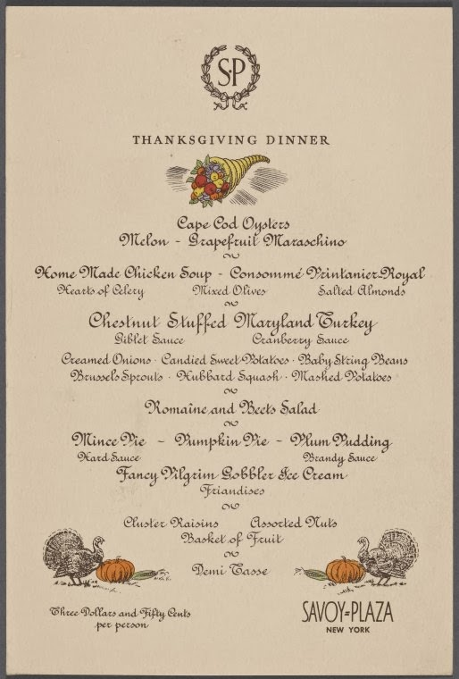 Home Like Menu From The Savoy Plaza Hotel
