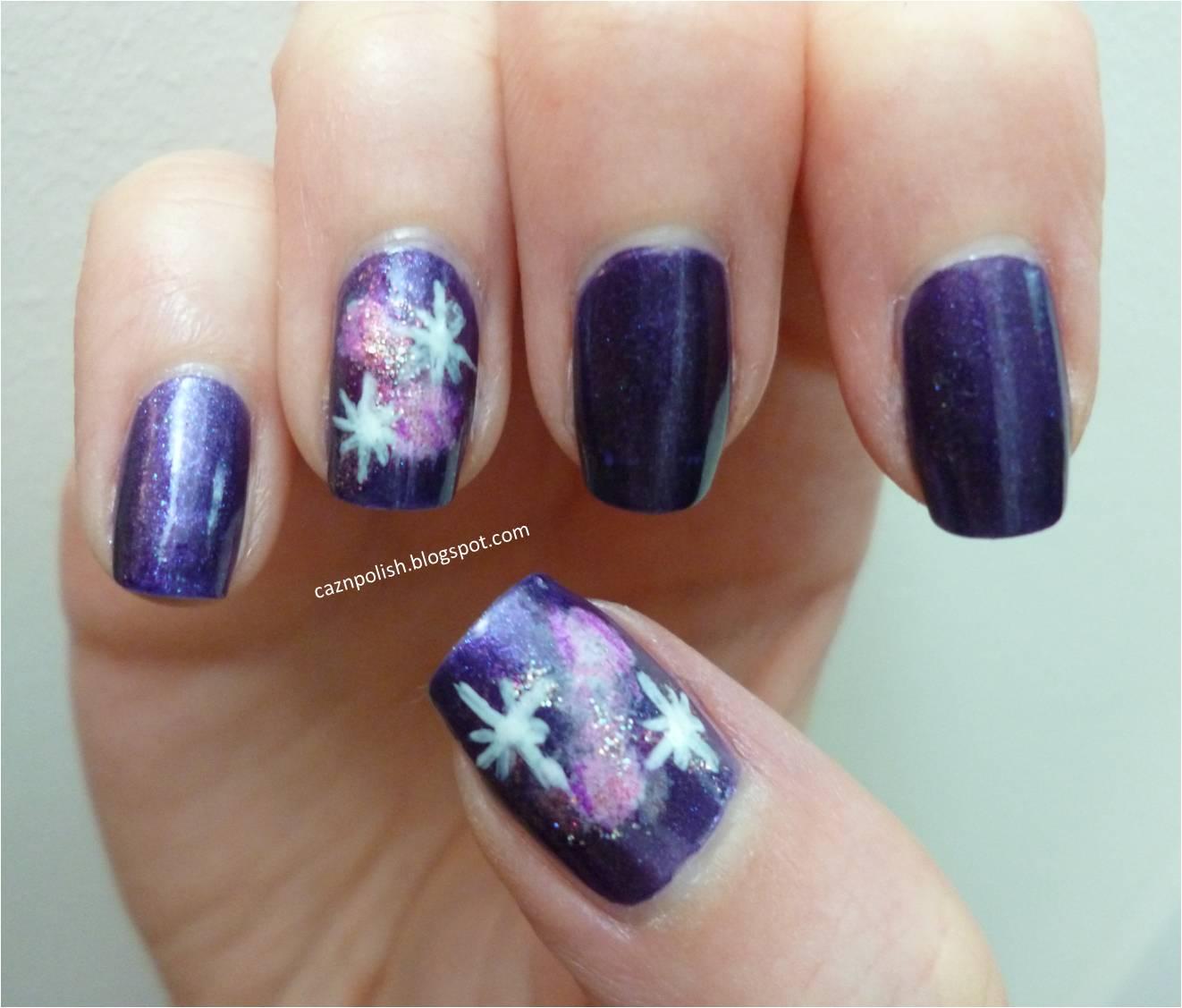 caz 'n' polish | Purple Galaxy Nails
