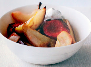 Roasted Autumnal Fruit Salad: Fruit salad of mixed roasted autumnal fruit served with yoghurt