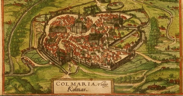 Old Cities Colmar France Map Then1575 and Now2015