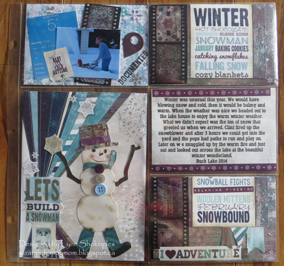 Hello Winter Misc.Me layout by Lynn Shokoples for BoBunny featuring the Altitude Collection and Film Strip Stickers