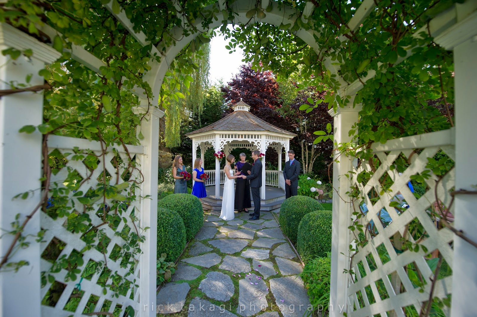 Aaron and Ashley's ceremony in the garden - Patricia Stimac, Seattle Wedding Officiant