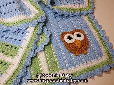 blue and green owl blanket