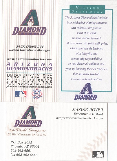 The prowling cat biz cards the collection arizona d backs arizona has gone through a couple changes that shows up in their business cards the teams original colors were teal purple and copper colourmoves