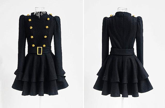 Cute vintage embellished ruffles dress
