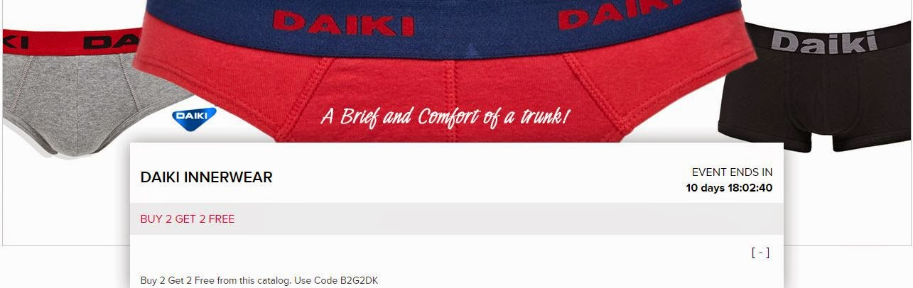 Buy Daiki Innerwear Buy 1 Get 1 Free & Rs. 65 off : Buy To Earn Fashionara