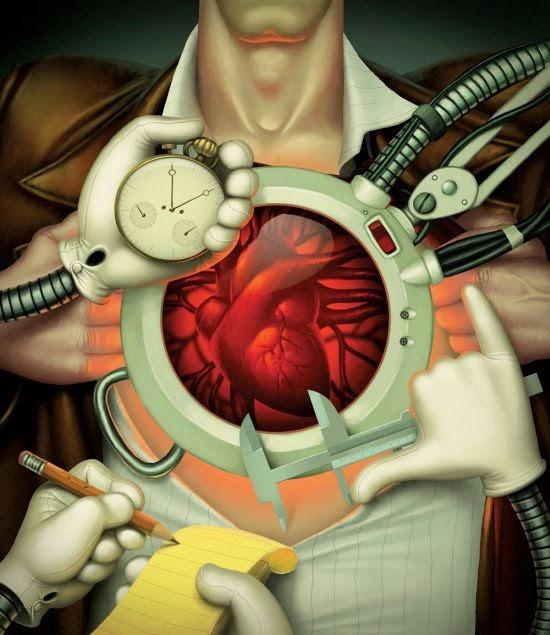 Denis Zilber ilustrações divertidas caricaturas Exame cardíaco