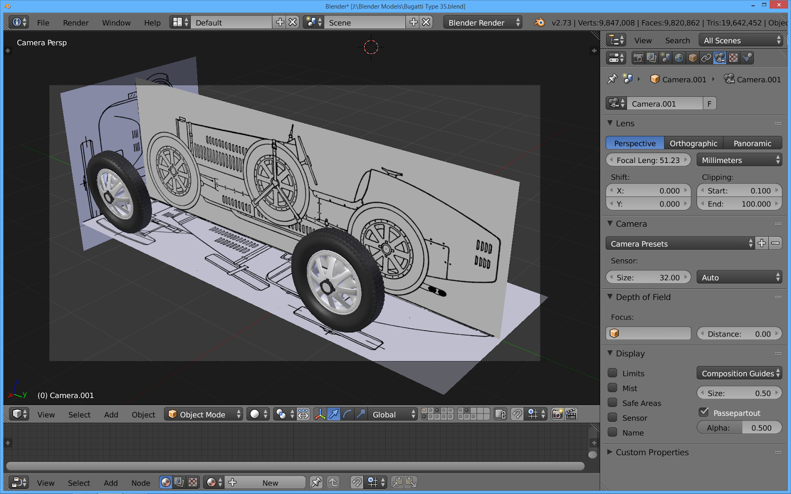 The tinkers workshop blender 3d 1927 bugatti type 35 racer heres what the computer model started out looking like in blender the blueprint was separated into front back top and side views malvernweather Image collections