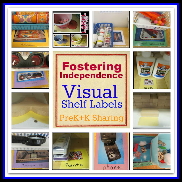 photo of: Fostering Independence in Children by Visually Labeling Shelves (RoundUp via PreK+K Sharing)
