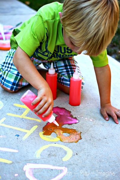 ABC Eruptions - An exciting prewriting exercise with erupting sidewalk chalk paint!  School work every preschooler will love.  No vinegar needed for this easy to make recipe!