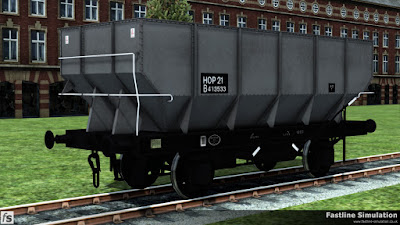 Fastline Simulation: A clean dia. 1/143 21T hopper in unfitted grey livery with HOP 21 code on a black painted panel.