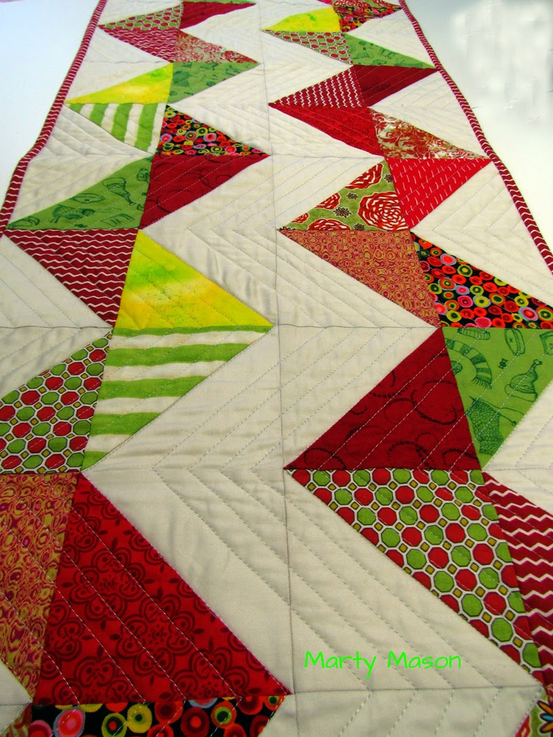 example of a bright color pallette in graphic design - a modern quilted table runner by modern quilter, marty mason