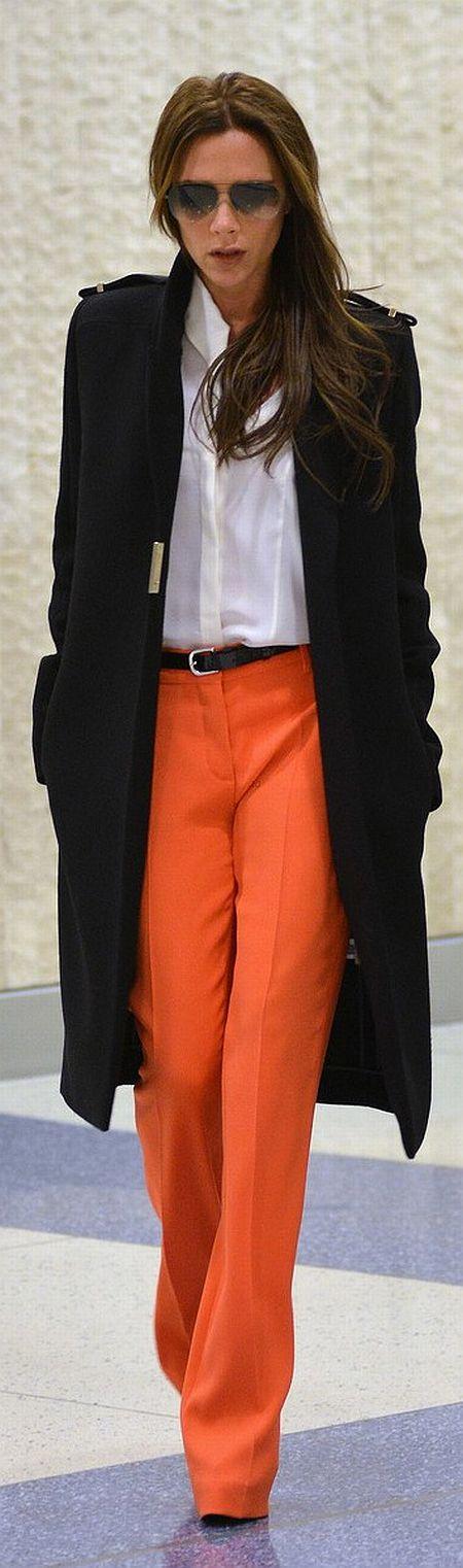 street style: orange pants by Victoria Beckham
