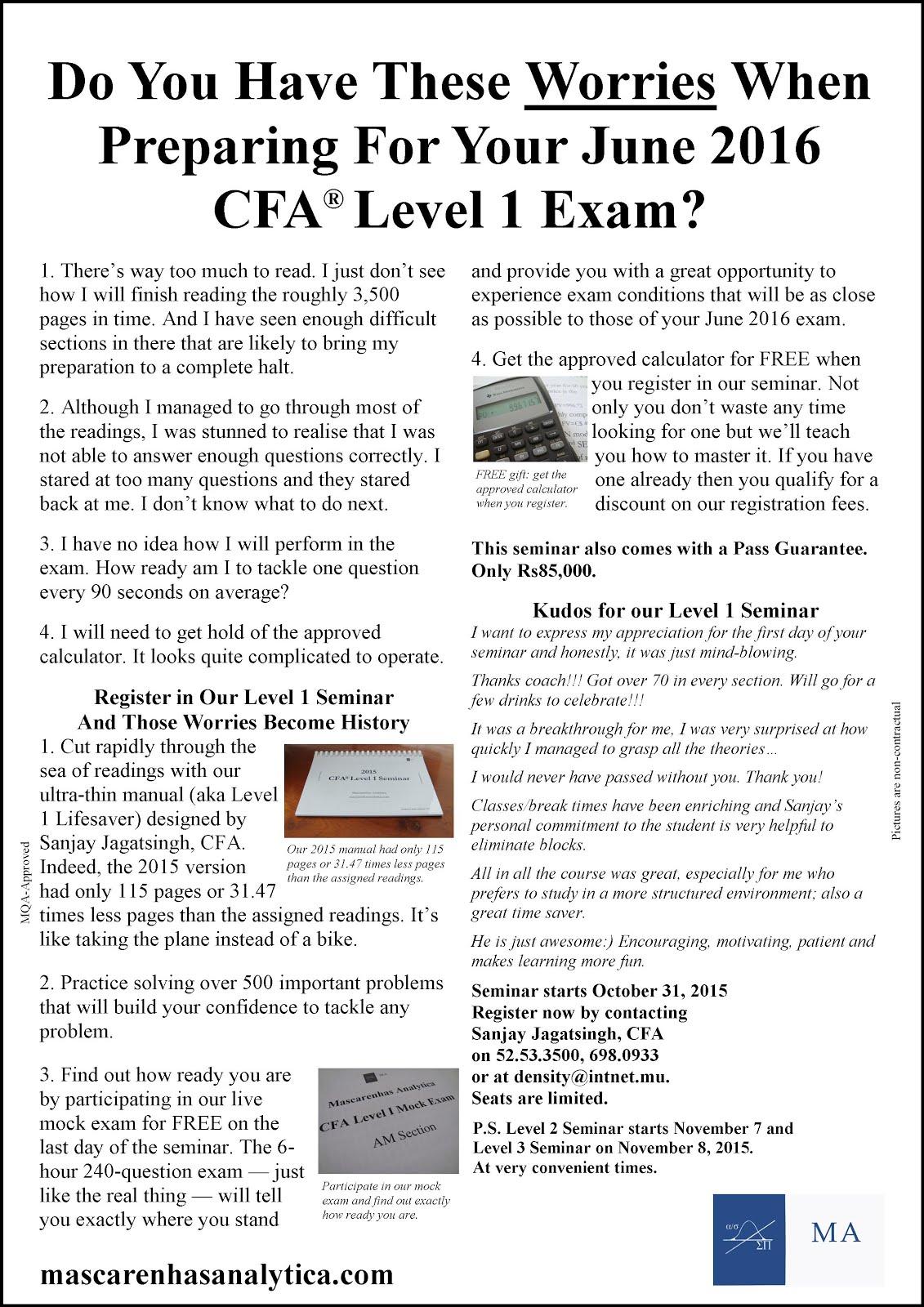 cfa level 1 self made How long do you realistically need to pass the cfa  how long do you realistically need to pass the cfa level 1  and then only focused on my self-made.