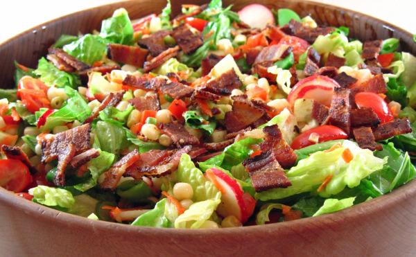 Chop Salad With Corn, Sugar Snap Peas, And Bacon Recipe - Yummy ...