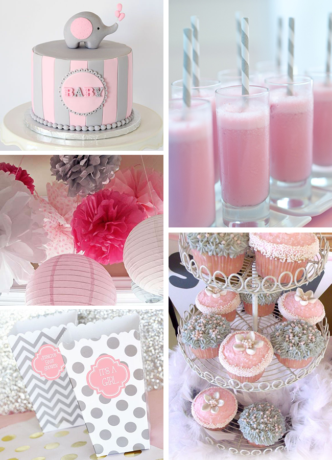 inspirations pink and gray elephant baby shower sweet pea paperie