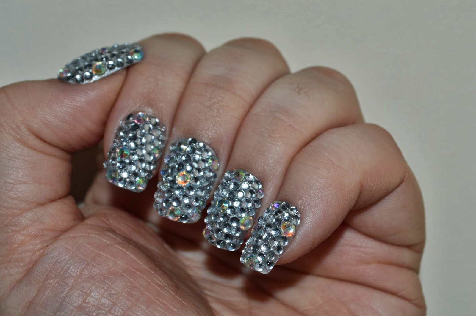 Silver Rhinestone Nails