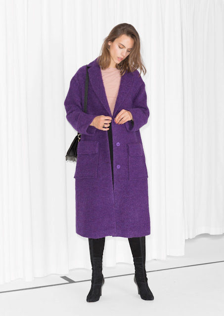 purple wool coat, purple stories coat, purple maxi coat,